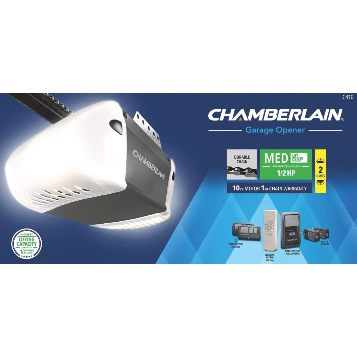 Chamberlain C-410 1/2 HP Durable Chain Drive Garage Door Opener with MED Lifting Power Image 2