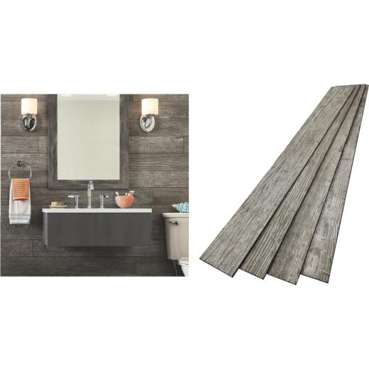DPI 6 In. W. x 48 In. L. x 1/4 In. Thick Thunder Gray Rustic Wall Plank (12-Pack)