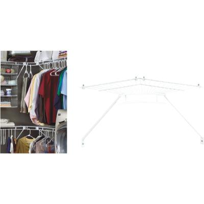ClosetMaid 12 In. Shelf & Rod Wire Closet Corner Shelf Kit, White