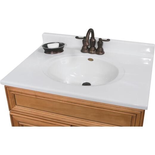 Imperial Marble 31 In. W x 22 In. D Marbled White Cultured Marble Vanity Top with Oval Bowl