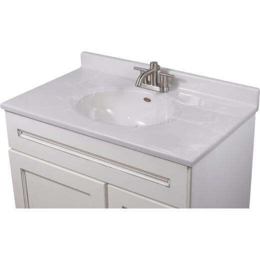 Imperial Marble 37 In. W x 22 In. D Marbled White Cultured Marble Vanity Top with Oval Bowl