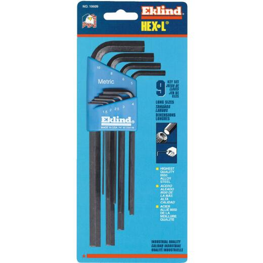 Eklind Metric Long Arm Hex Key Set, 9-Piece