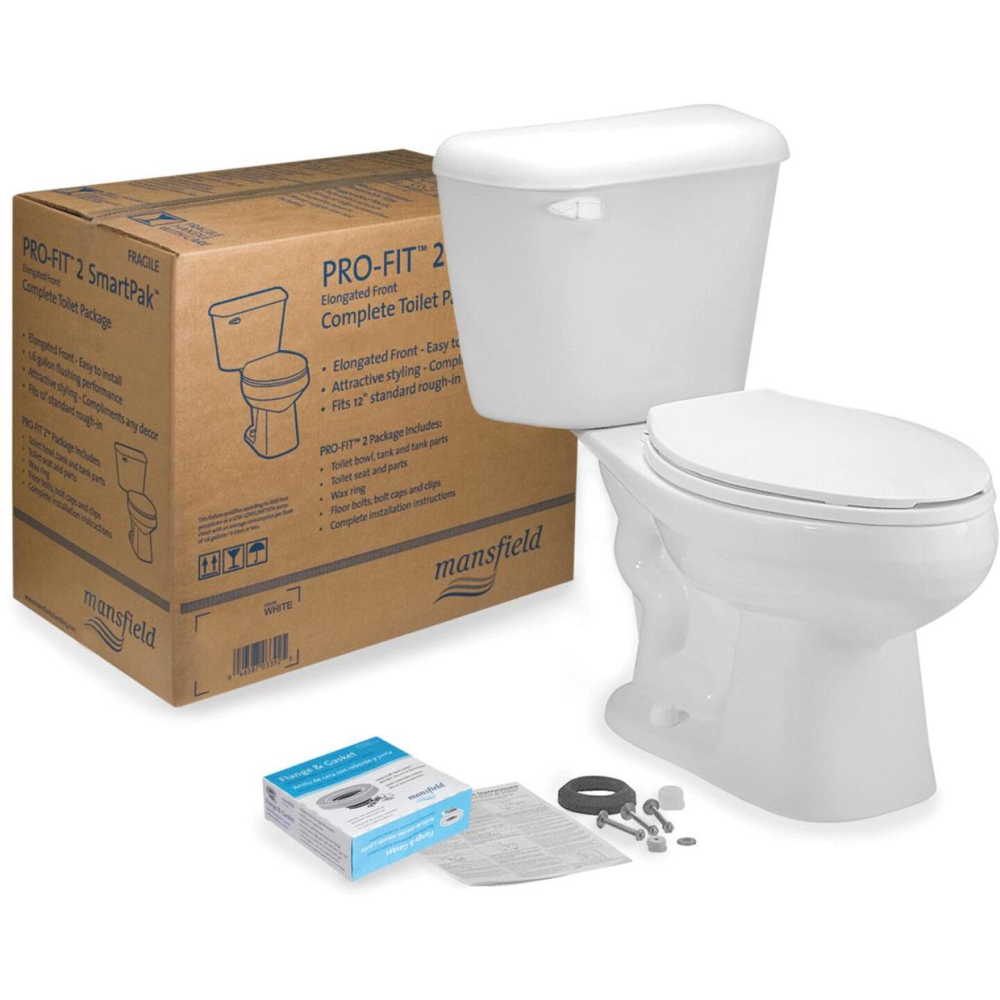 Mansfield Pro-Fit 2-128 White Elongated Bowl 1.28 GPF Complete Toilet Image 1