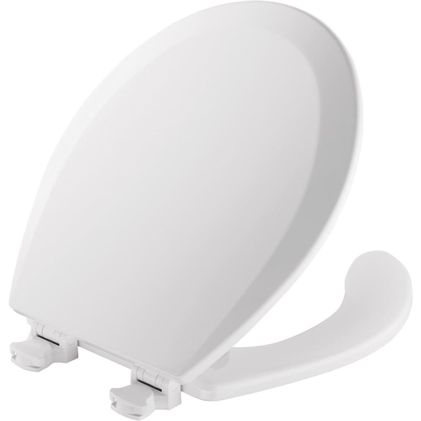 Mayfair Round Open Front White Toilet Seat with Cover Image 1