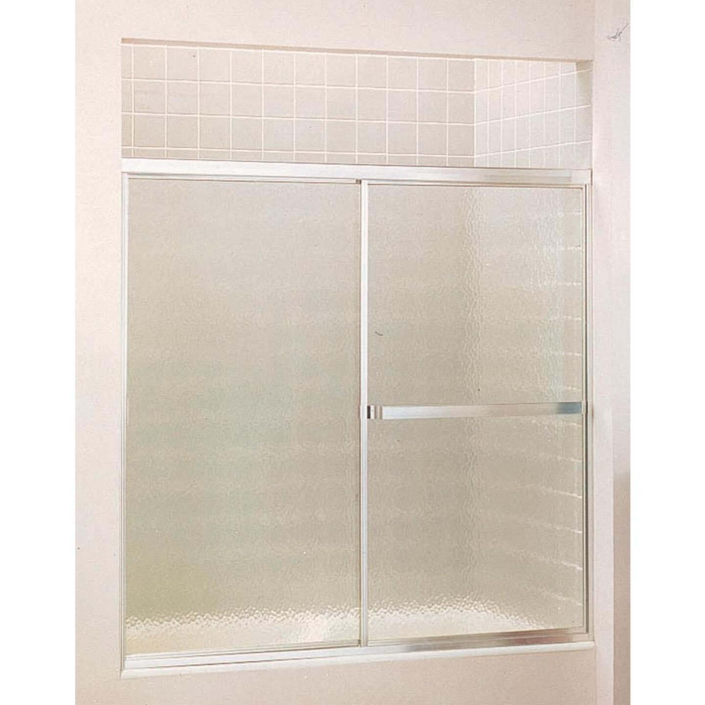 Sterling Standard 59 In. W. x 56-7/16 In. H. Chrome Hammered Glass Sliding Tub Door Image 1