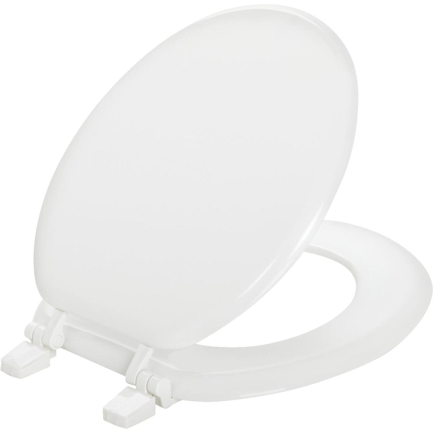 Mayfair Round Closed Front White Wood Toilet Seat Image 1