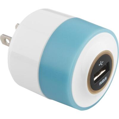 RCA Night Glow USB White & Turquoise Wall Charger