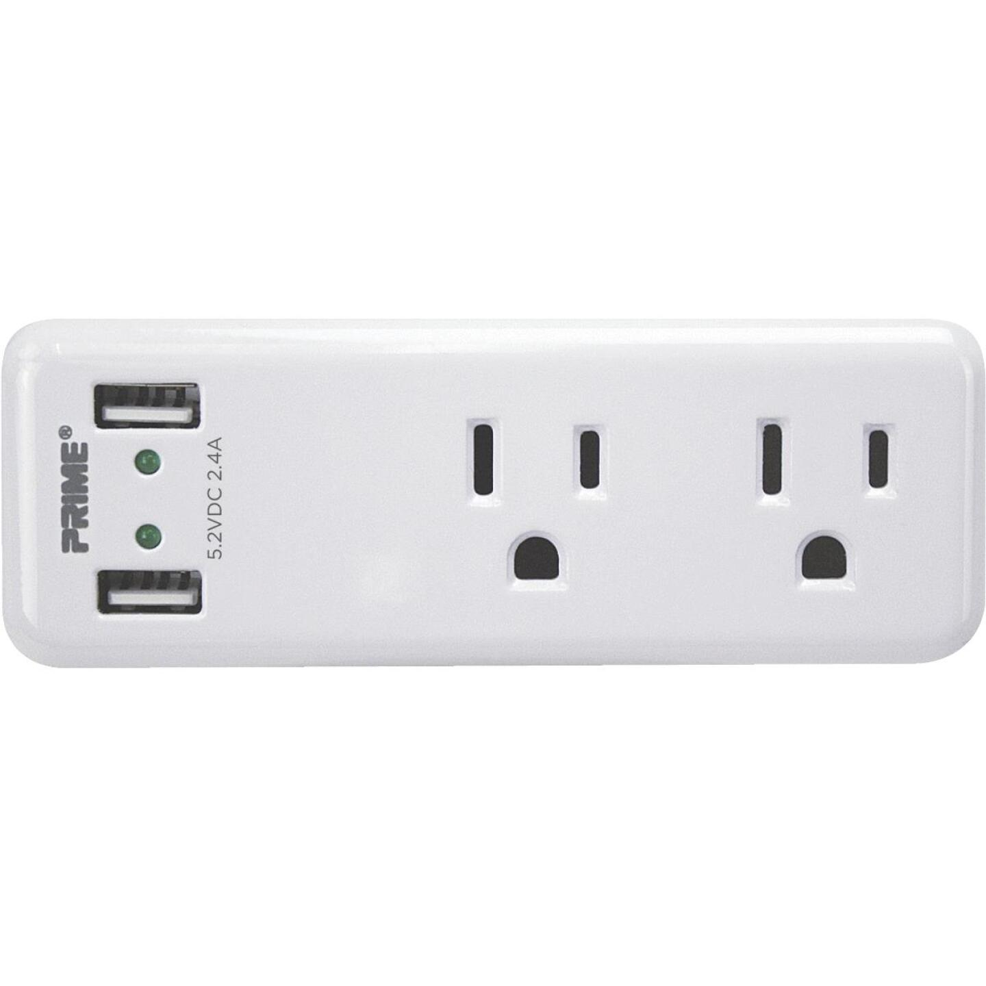 Prime Wire 2 Power & 2 USB White Space Saving USB Wall Charger Image 1
