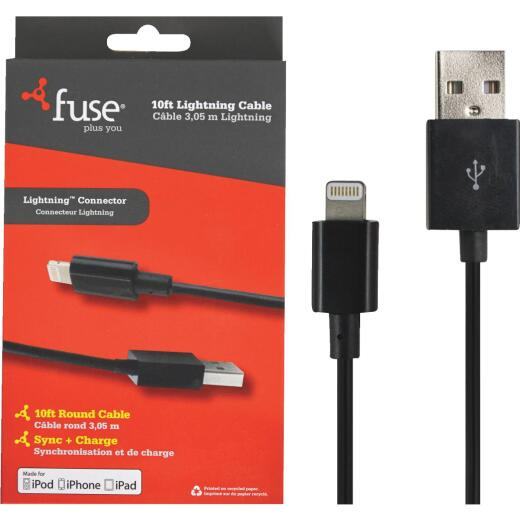 Fuse 10 Ft. Black Lightning USB Charging & Sync Cable