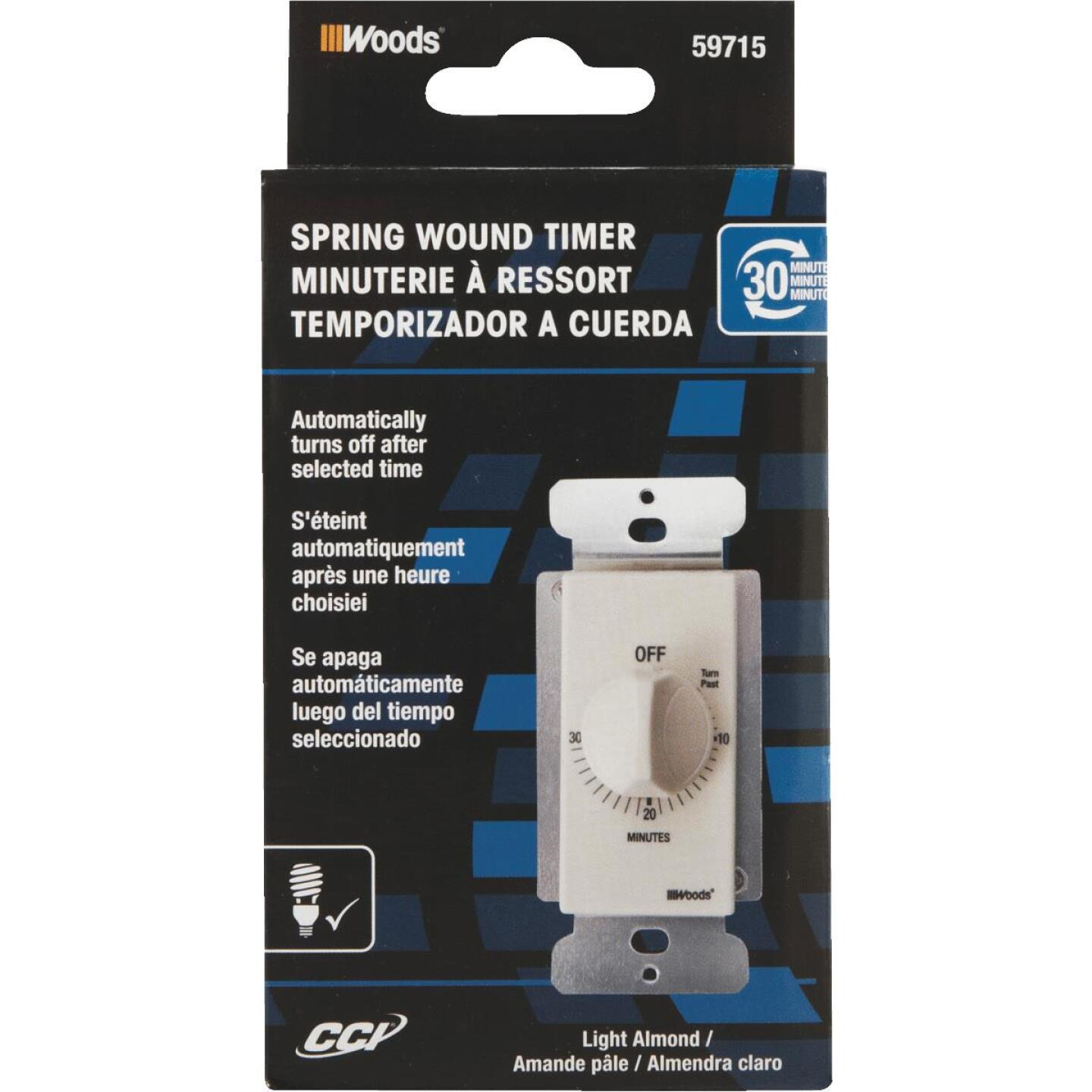 Woods 125V In-Wall 30-Minute Spring Wound Almond Timer Image 2