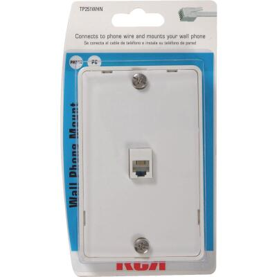 RCA White Wall Telephone Jack