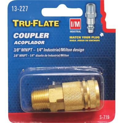 Tru-Flate Industrial/Milton Series Push-to-Connect 3/8 In. MNPT Coupler