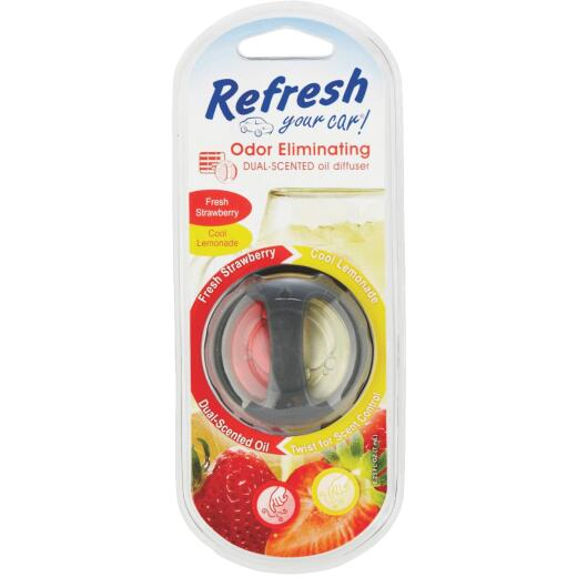 Refresh Your Car Oil Diffuser Car Air Freshener, Fresh Strawberry/Cool Lemonade