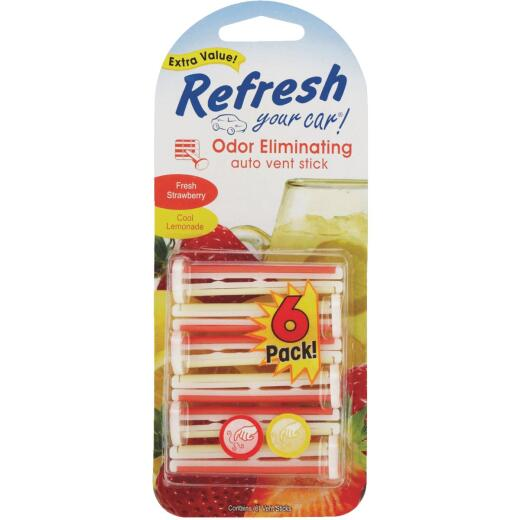 Refresh Your Car Vent Stick Car Air Freshener, Fresh Strawberry/Cool Lemonade (6-Pack)