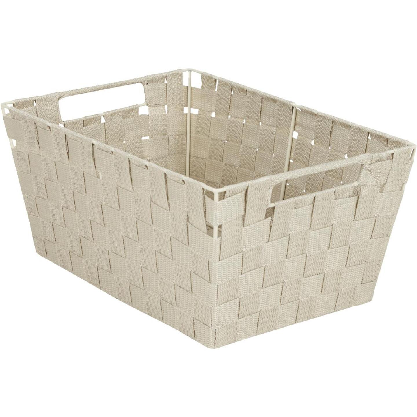 Home Impressions 10 In. W. x 6.75 In. H. x 14 In. L. Woven Storage Basket with Handles, Beige Image 1