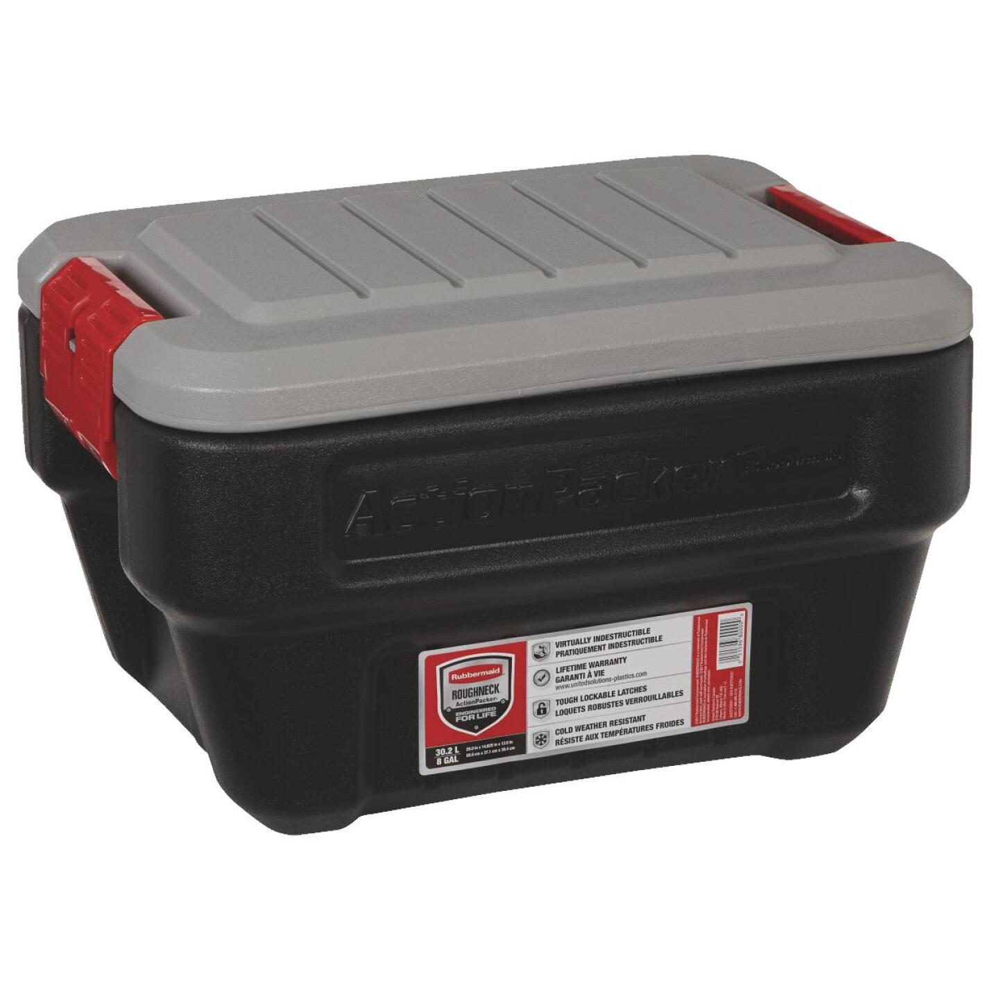 Rubbermaid ActionPacker 8 Gal. Black Storage Tote Image 1