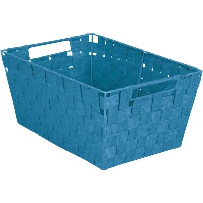 Home Impressions 10 In. W. x 6.75 In. H. x 14 In. L. Woven Storage Basket with Handles, Blue