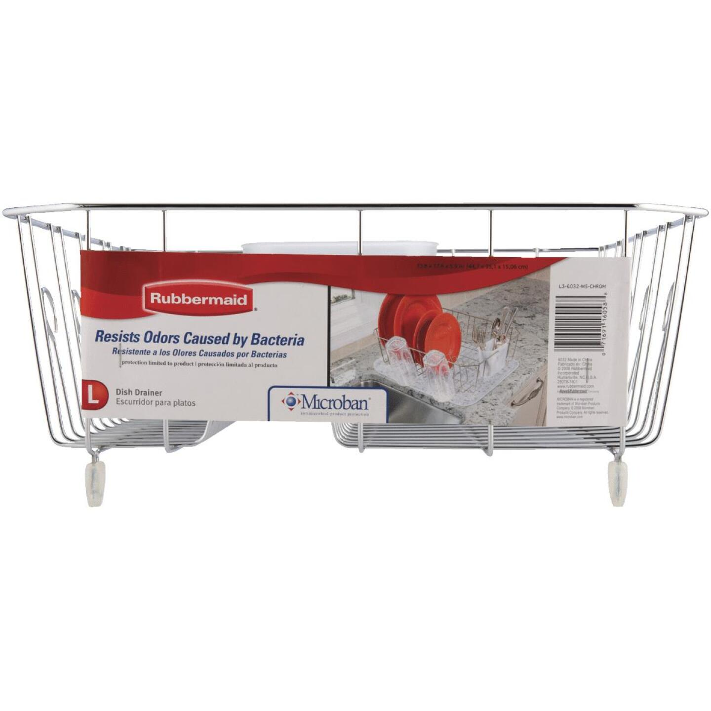 Rubbermaid 13.81 In. x 17.62 In. Chrome Wire Sink Dish Drainer Image 3