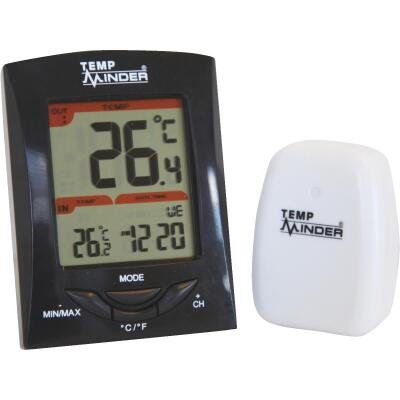 "Minder Research Temp Minder 1-1/4"" W x 4"" H Plastic Wireless Indoor & Outdoor Thermometer"