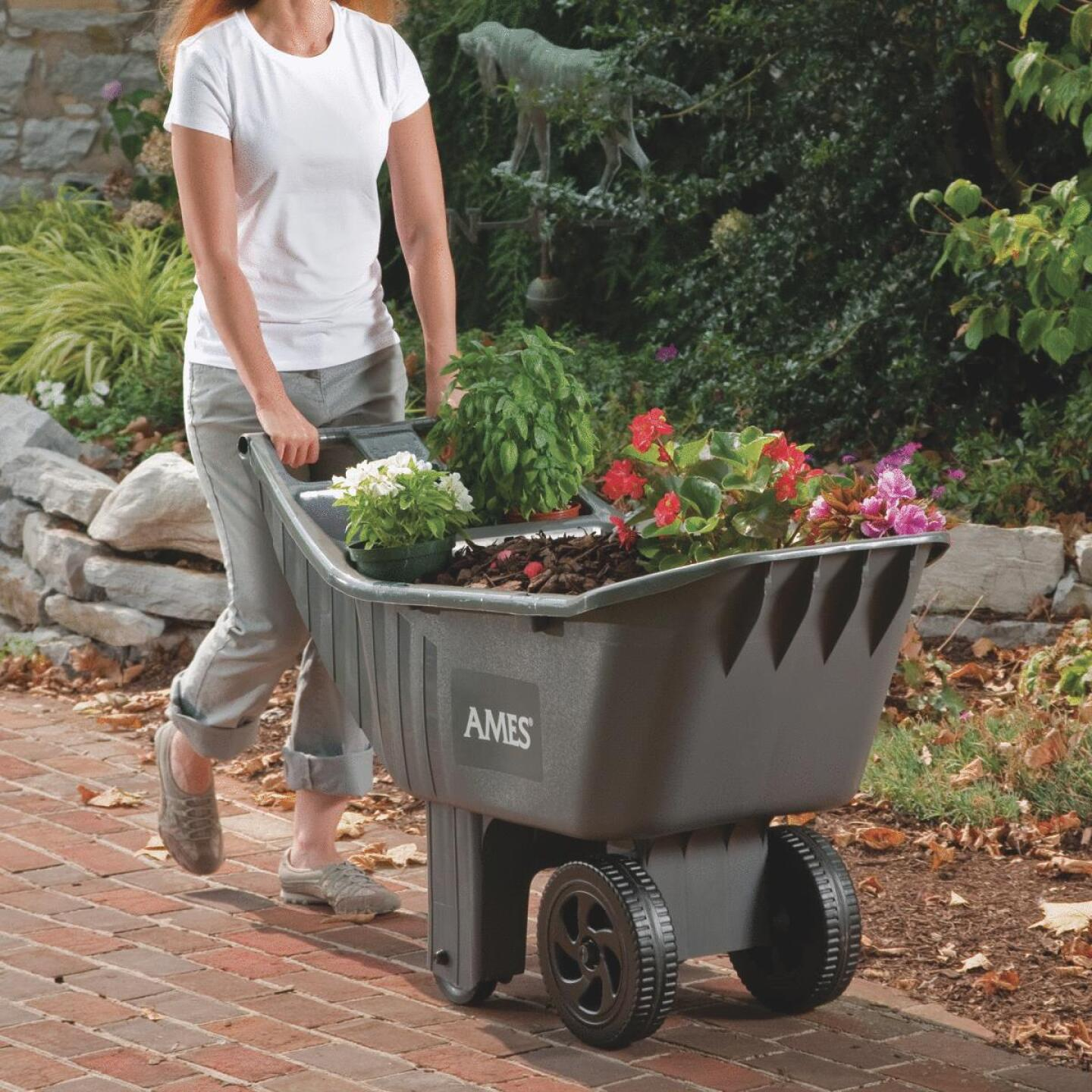 Ames Easy Roller 4 Cu. Ft. 250 Lb. Poly Garden Cart Image 3